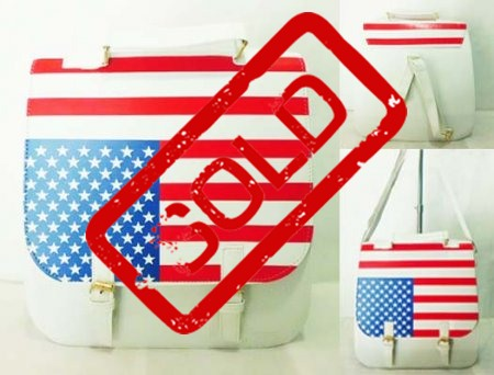 Tas Fashion Ransel Bendera Amerika Putih 2 IN 1