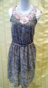 pakaian dress flower mix leopard print